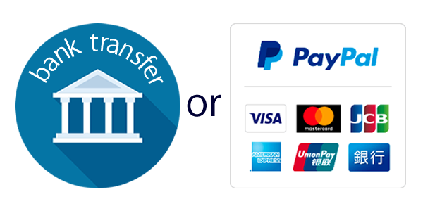 bank transfer or Paypal